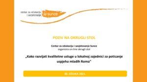 Kako poticati uspjeh mladih Roma? (online okrugli stol)