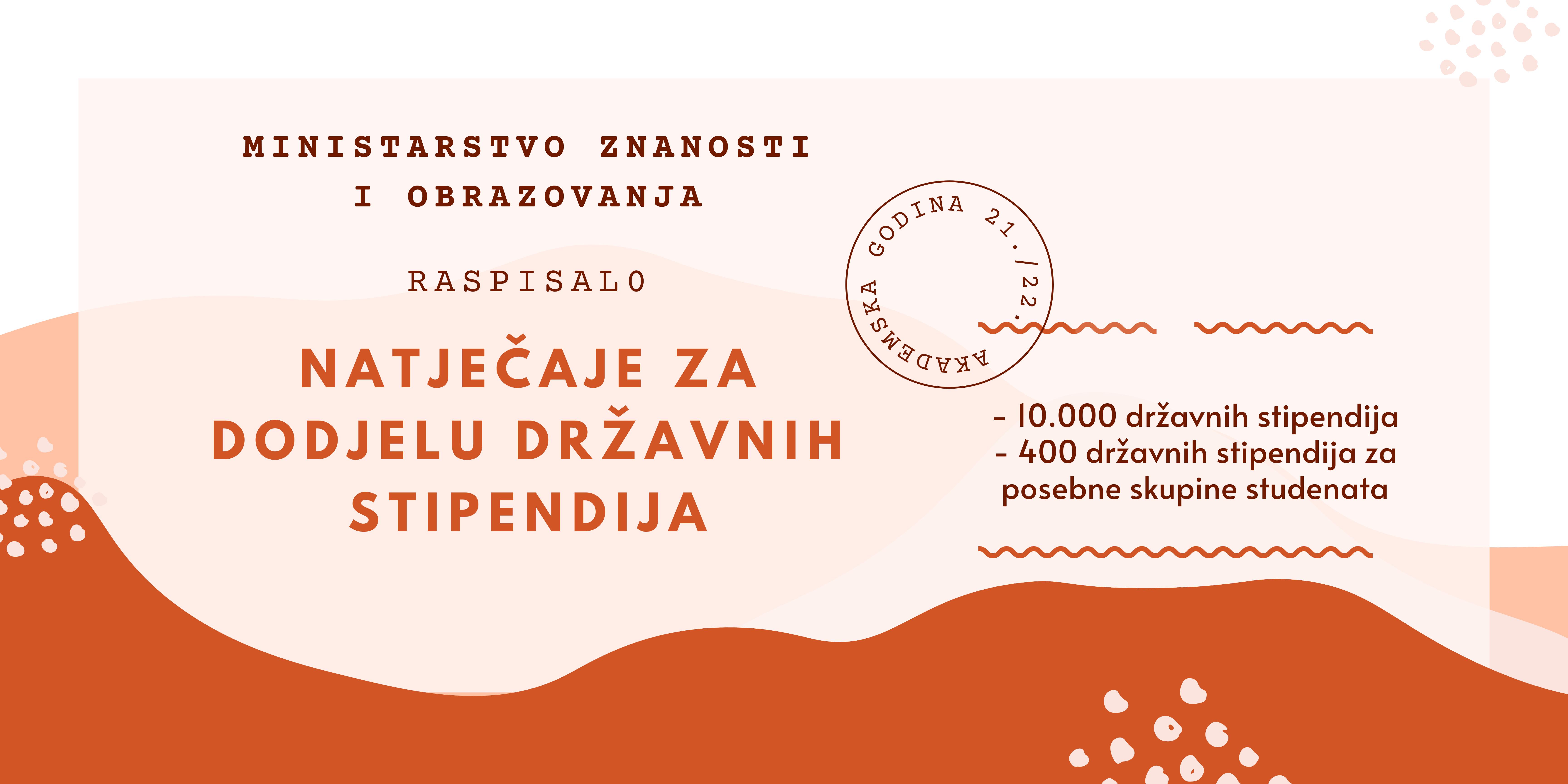 Ministarstvo znanosti i obrazovanja raspisalo je natječaje za dodjelu državnih stipendija